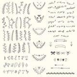 Elementos florales dibujados mano del vintage Diseño e del vector de Handsketched Fotos de archivo libres de regalías