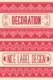 Elementos frescos de la decoración de las etiquetas del vector del vintage, marcos, diseño agradable de la etiqueta Fotos de archivo