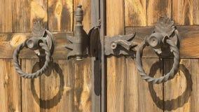 Elementos góticos del hierro labrado en la puerta de madera del tablón Fotografía de archivo libre de regalías