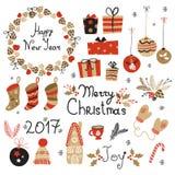 Elementos gráficos ajustados do Natal com grinalda, bolo, casa de pão-de-espécie, mitenes, brinquedos, presentes e peúgas Foto de Stock