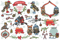 Elementos gráficos de la Navidad, pájaros lindos de la historieta Fotos de archivo