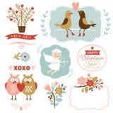 Elementos gráficos del día de tarjetas del día de San Valentín, colección del vector Fotos de archivo libres de regalías