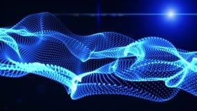 Elementos gráficos do movimento azuis onda gráfica a forma é partículas ilustração do vetor