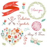 Elementos gráficos florais elegantes Fotos de Stock Royalty Free