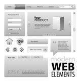 Elementos grises del diseño del Web site Fotografía de archivo