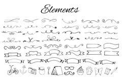 Elementos Handdrawn do logotipo fotos de stock royalty free