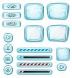 Elementos helados de la historieta para el juego de Ui stock de ilustración