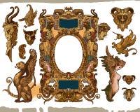 Elementos heráldicos del diseño del marco Fotos de archivo