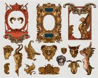 Elementos heráldicos del diseño del marco Fotografía de archivo libre de regalías