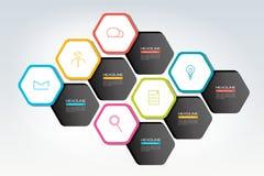 Elementos hexagonales del diseño del infographics para la presentación, informe, ciervo, diagrama, infographic Imagen de archivo libre de regalías