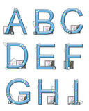 Elementos A a I da modificação do alfabeto Imagem de Stock