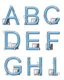 Elementos A a I de la Mod del alfabeto Imagen de archivo