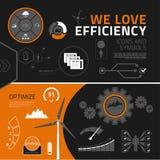 Elementos, iconos y símbolos infographic de la eficacia stock de ilustración