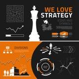Elementos, iconos y símbolos infographic de la estrategia empresarial stock de ilustración