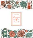 Elementos, ilustração feita das flores e ervas da garatuja da folha Fotos de Stock
