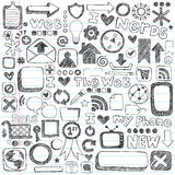 Elementos incompletos del diseño del ordenador del icono del Web del Doodle stock de ilustración