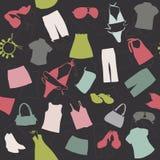 Elementos inconsútiles del fondo de la ropa stock de ilustración