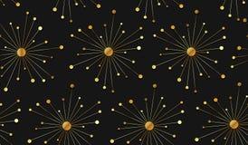 Elementos inconsútiles del oro del fondo del vector en negro libre illustration