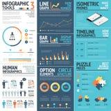 Elementos incorporados do vetor do infographics em cores lisas do negócio Foto de Stock