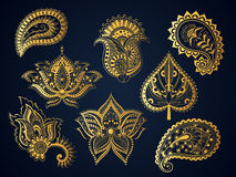 Elementos indianos do ouro boêmios Imagem de Stock Royalty Free