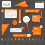 Elementos infographic anaranjados de la cronología en fondo oscuro Fotos de archivo libres de regalías