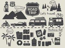 Elementos infographic da lista de embalagem da viagem por estrada ilustração royalty free