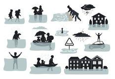 Elementos infographic da silhueta da inundação as casas inundadas, cidade, carro, pessoa escapam das água da enchente que saem de Fotos de Stock