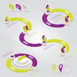 Elementos infographic de la cronología colorida del vector Imágenes de archivo libres de regalías