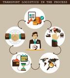 Elementos infographic de la logística Logística del transporte en el proceso Foto de archivo libre de regalías