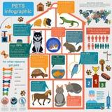 Elementos infographic de los animales domésticos nacionales, helthcare, veterinario stock de ilustración