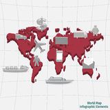 Elementos infographic del mapa del mundo Imagen de archivo
