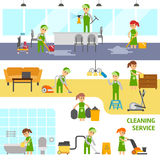 Elementos infographic del servicio de la limpieza Los limpiadores vector el ejemplo plano Foto de archivo libre de regalías
