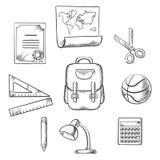 Elementos infographic dibujados mano de la educación Imágenes de archivo libres de regalías