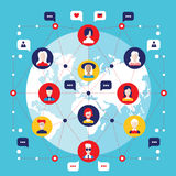 Elementos infographic sociales de la comunicación global del concepto de la red Fotos de archivo