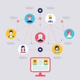 Elementos infographic sociales de la comunicación global del concepto de la red Fotos de archivo libres de regalías