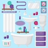 Elementos interiores do banheiro moderno ilustração royalty free