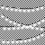 Elementos isolados do projeto das luzes de Natal ilustração do vetor