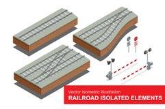 Elementos isolados estrada de ferro para o transporte do frete de trilho Vector a ilustração 3d isométrica lisa do sinal da estra Fotografia de Stock Royalty Free