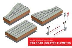 Elementos isolados estrada de ferro para o transporte do frete de trilho Vector a ilustração 3d isométrica lisa do sinal da estra Fotos de Stock Royalty Free