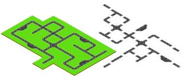 Elementos isométricos del camino Ejemplo isométrico del vector Imagen de archivo libre de regalías