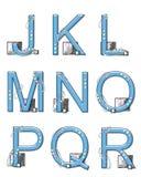 Elementos J a R de la Mod del alfabeto Imagen de archivo libre de regalías