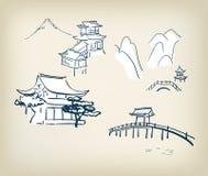 Elementos japoneses del diseño del ejemplo del vector del templo tradicionales stock de ilustración