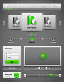 Elementos limpios modernos Grey Green Gray 2 del diseño del sitio web Imagen de archivo