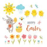 Elementos lindos del diseño de Pascua aislados en el fondo blanco libre illustration