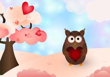 Elementos lindos del vector del búho de día de San Valentín fotos de archivo