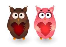 Elementos lindos del vector de los búhos de día de San Valentín imagenes de archivo
