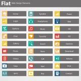 Elementos lisos do design web, botões, ícones. Moldes para o Web site. Fotos de Stock