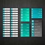 Elementos lisos do design web, botões, ícones. Moldes para o Web site. Imagens de Stock