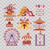 Elementos lisos do parque de diversões com carrosséis, waterslides, balões, bandeiras, castelo inflável do trampolim, roda de fer ilustração do vetor