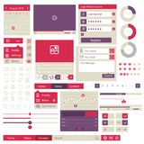 Elementos lisos do projeto da interface de utilizador Foto de Stock
